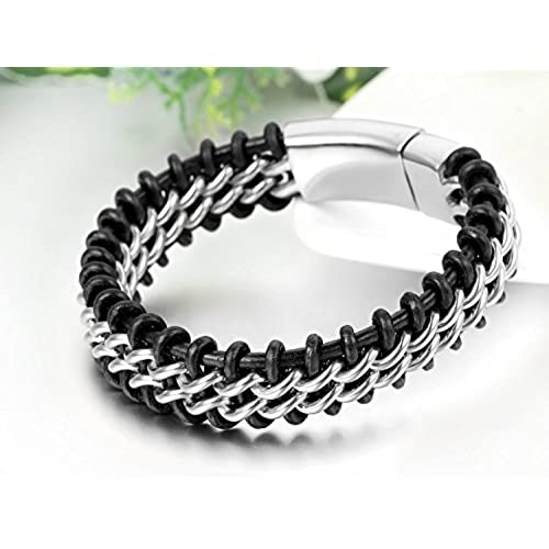 e0b7fcf636af Nuevo Jewelrywe Joyas Pulsera brazalete hombre acero inoxidable cuero  trenzado