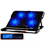 EletecPro Laptop Cooler External Cooling Fan Pad with LCD Screen For 12-15.6 inch Gaming NoteBook Computer CPU Cool Air Heat, Five Quite Fans 2500RPM+ Strong Wind Speed Designed for Gamers Home Office