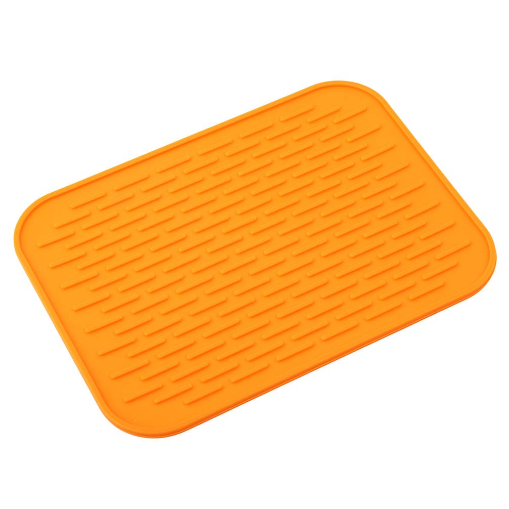 JOMSK Silicone Pot Holder Square Heat Insulated Pad Thicker Anti-scalding Tableware Mats Table Drain Pad Car Phone Pad for Home Decor,Orange
