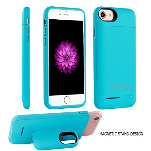 Battery Case for iPhone 8/7 / 6s /6 - i.Valux Slim Protective Rechargeable Extended External Charger Case 3000mAh Power Bank Backup Battery Charging Case Shockproof Bumper with Magnetic Stand (Blue)