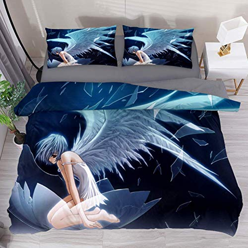 LvShen Anime Angel Girl Wings Bedding Sets Full Size Bed Coverlet Duvet Cover Set with 2 Pillow Cases Shams 3 Pieces Printed Sheets for Teen Boys Girls