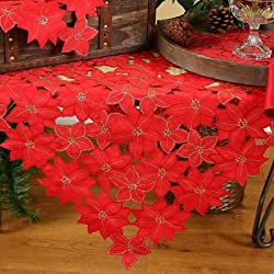 Festive Poinsettia Embroidered Cutwork Christmas Table Topper
