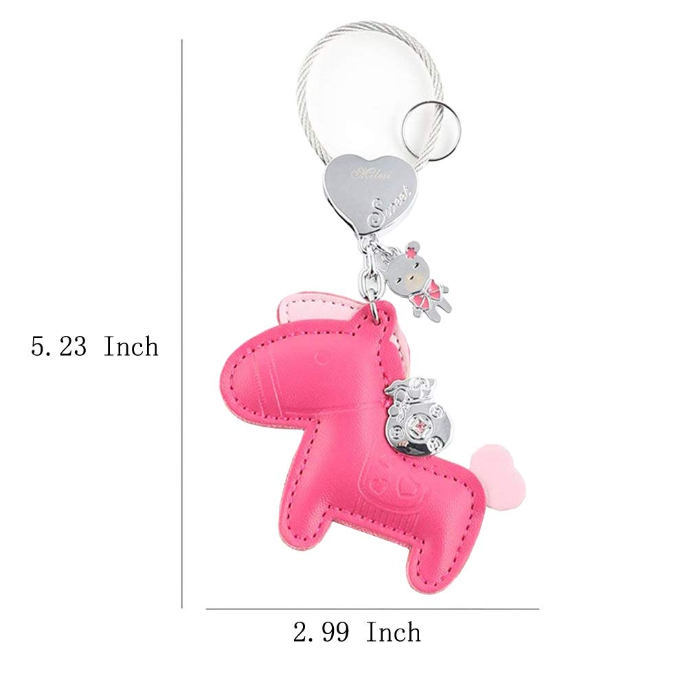 c38fb9e00b9 Jepeak Leather Key Chain Cute Luxury Horse Design Keychain Car Keys and Bags  Pendant for Lover Keyring Trinket - Rose Red by Jepeak: Amazon.co.uk: Shoes  & ...