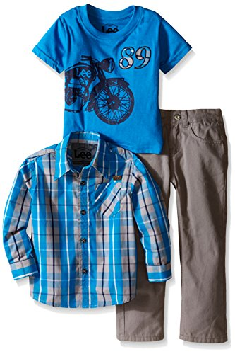LEE Little Boys' Toddler Motorcycle Woven 3 Piece Twill Pant Set, Silver Filigree, (Plaid Motorcycle Jersey)