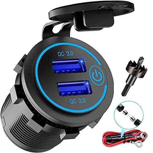 12V USB Outlet, AlfredDireck Dual Quick Charge 3.0 USB Car Charger with 1.1inch Puncher, Waterproof 36W USB Power Outlet…