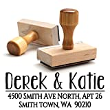 Wood Stamper, Custom Personalized Wooden Handle Return Mail Address Stamp – Brilliant Gift for Family, Newlyweds, Bridal Shower, Teacher or Clients