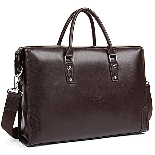MANTOBRUCE Leather Briefcase for Men Women Travel Work 15'' Laptop Bag by MANTOBRUCE