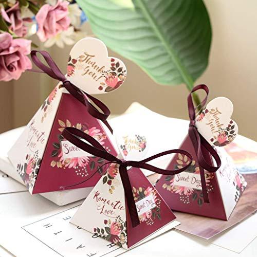 YURASIKU 20pcs Unicorn Triangle Pyramid Style Candy Box Wedding Favors Party Supplies Romantic Floral Chocolate Box