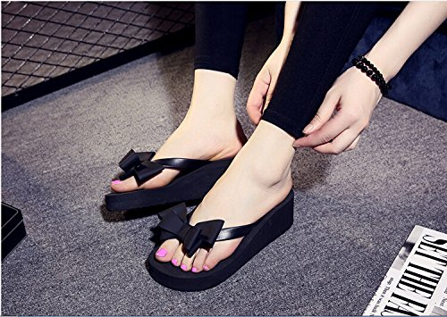77ff4c0da2474b VOSHI Ladies Summer Platform Flip Flops Thong Wedge Beach Sandals Knotbow  Shoes