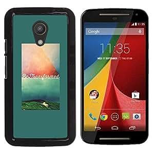 YOYOYO Smartphone Protección Defender Duro Negro Funda Imagen Diseño Carcasa Tapa Case Skin Cover Para Motorola MOTO G 2ND GEN II - texto verde verde azulado cita de motivación