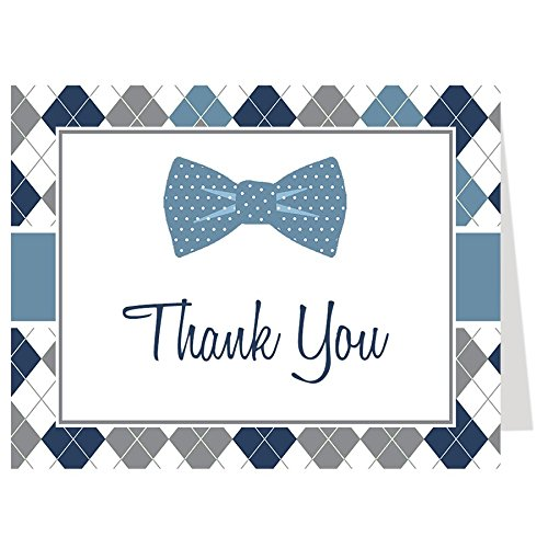 Baby Shower Thank You Cards Baby Boy, Argyle, Little Man, Dude, Polka Dots, Navy, Gray, Grey, Blue, Hipster, Bowtie, Sprinkle, Set of 50 Folding Notes with White Envelopes, Argyle Bow tie