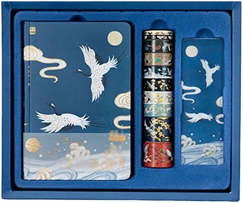 Notizbuch-Set – Pack Notizbuch Tagebuch enthält Band, Lesezeichen, 18,8 x 13 cm, Hardcover, bemalte Innenseite, perfekt für Schule, Büro und Zuhause, blau