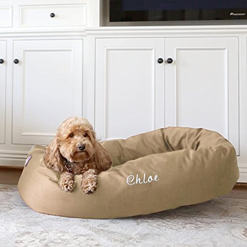 Majestic Pet Personalized Bagel Dog Bed - Machine Washable - Soft Comfortable Sleeping Mat - Durable Bedding Supportive Cushion Custom Embroidered - Available Replacement Covers - Large Khaki