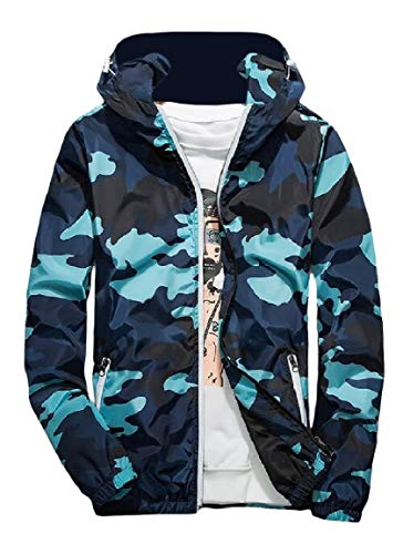 Fashional Jacket MogogoMen Activewear Runnung Hood Coat Zip Blue Camo prWWTR0ncP