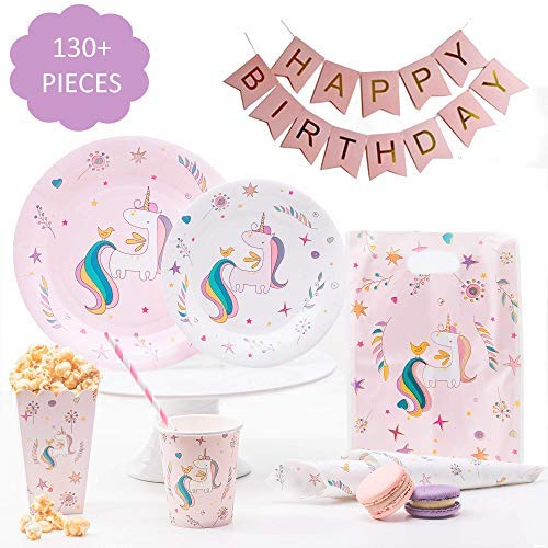 [130+ pcs] Unicorn Party Supplies – Includes 16x Plates 16x Dessert Plates 16x Cups Unicorn Tablecloth 32x Decorated Napkins | BONUS Birthday Banner and Party Treat Bags