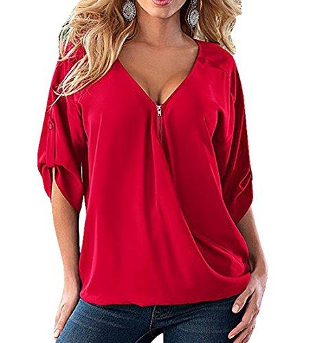 Manche Loisir et Casual de Mousseline Rouge Tops Printemps Chemise Femme V Blouses Demi Col Automne Topsone Hauts vxRq56w