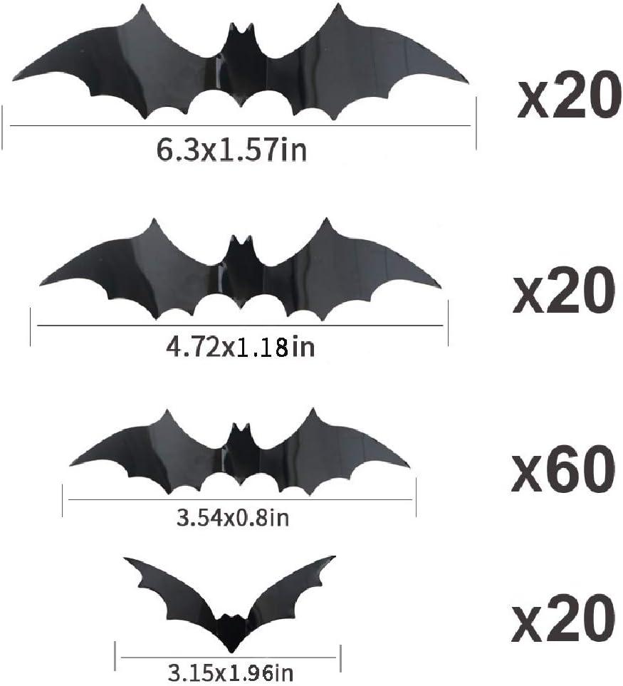 120 Pack Halloween 3D Bats Decoration Scary Bats Wall Decals Stickers Decor