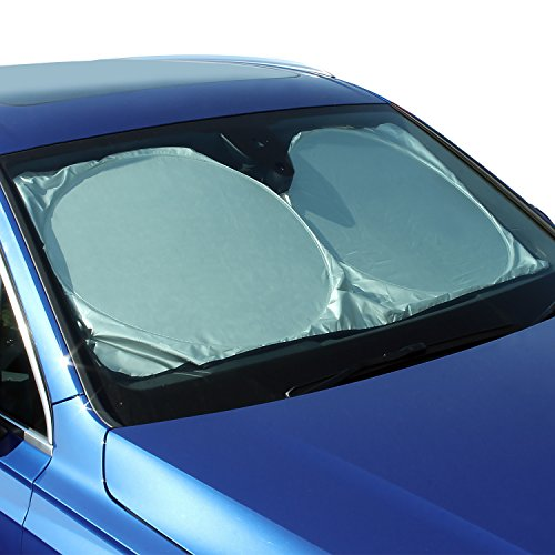 "CampTeck U6834 Foldable Reflective Vehicle Car Windshield Sunshade Reflector UV Rays Windscreen Sun Shade Sun Protector Universal Fit (58"" x 27"") with Carrying Pouch"