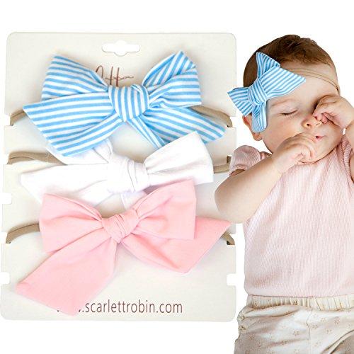 Tan Stripe Bow - 3 Baby Girl Hair Bows on Nylon Headbands | Fabric