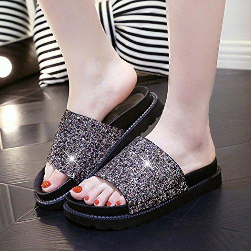 bescita Outdoor Indoor Damen Sommer Sandalen Schuhe Peep-Toe Halbschuhe Römischen Sandalen Damen Flip Flops (38, Gold)
