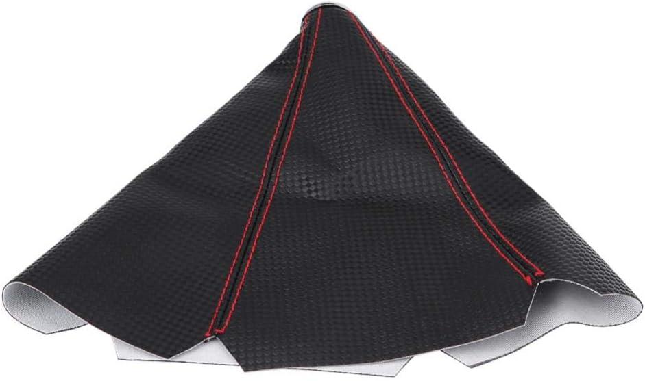 universale in fibra di carbonio stile PU Coperchio pomello leva cambio in pelle anti-polvere Coperchio cuffia cofano rosso Coperchio antipolvere leva pomello cambio auto