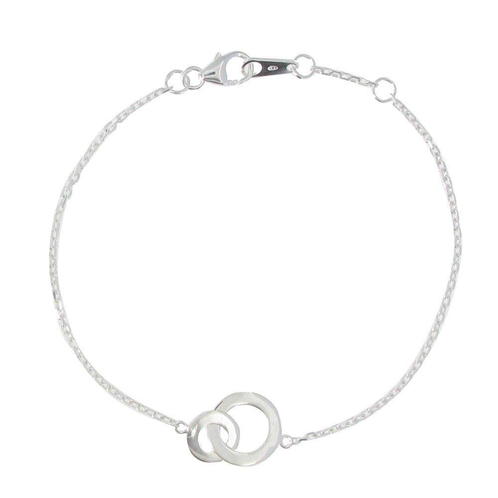 Les Poulettes Jewels - Bracelet 2 Circles Sterling Silver - Adjustable Chain