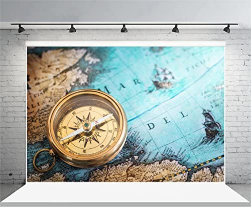 ALUONI 7x5ft Map,Highly Detailed Ancient Grunge Treasure Map Adventure Sailing Backdrop Vintage Photo Background Cotton for Booth Graduation Prom Decor No Wrinkle AM021827
