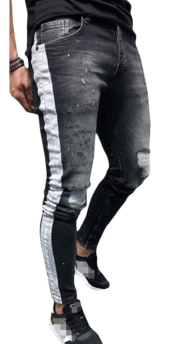 pipigo Men Skinny Fit Track Jean Stylish Stretch Destroyed Pants Trousers