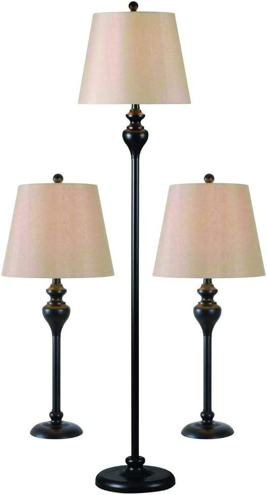 Kenroy Home Traditional 3-Pack Lamp Set, 30 Inch Height Table Lamp, 61 Inch Height Floor Lamp, Oil Rubbed Bronze Finish, 13 and 14 inch Light Gold Fabric Shades