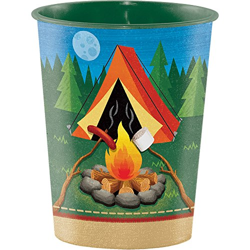 Creative Converting 329326 Camp Out Birthday 12-Count Plastic Keepsake Party Cups