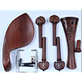 D Z Strad Hand Carved Inlaid Violin Parts (Pegs, Chinrest, Tailpiece, Endpin, Clamps)