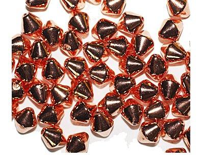 Pyramid Bicone Bright Copper Metalized Metallic Beads
