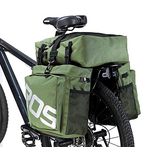 fivefire Triple Gepäckträger Rücklicht Wasserdicht Fahrrad Tasche hinten Paar Pack Bag Schulter Satteltasche 37L Multifunktions-Bike hinten Sitz Tragekorb grün KUcmKr147j