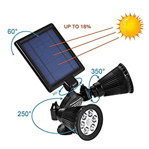 Solar Lights Motion Sensor Outdoor, OPERNEE Upgraded Double Spotlights 12 LED Solar Powered Dual head 360 Degree Rotatable Security Light for Patio Porch Deck Yard Garden Garage Driveway Outsides Wall