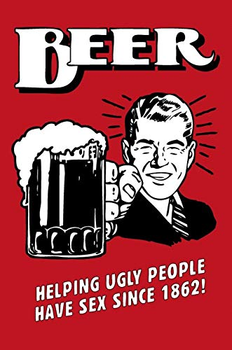 Rupert Gibsona Beer Beer Helping Ugly People Have Sex Red Art Decor Tin Sign Home House Coffee Beer Drink Bar 8 x 12 Inch