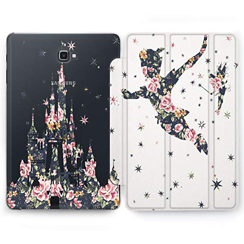Wonder Wild Floral Peter Pan Samsung Galaxy Tab S4 S2 S3 Smart Stand Case 2015 2016 2017 2018 Tablet Cover 8 9.6 9.7 10 10.1 10.5 Inch Clear Design Cartoon Characters Tinker Bell Peonies Silhouette