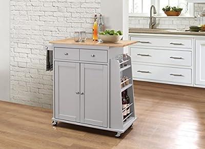 Acme Furniture 98310 Tullarick Kitchen Cart, Natural/Gray