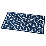 Nautical Nantucket Anchor Skid-Resistant Accent Rug, Blue