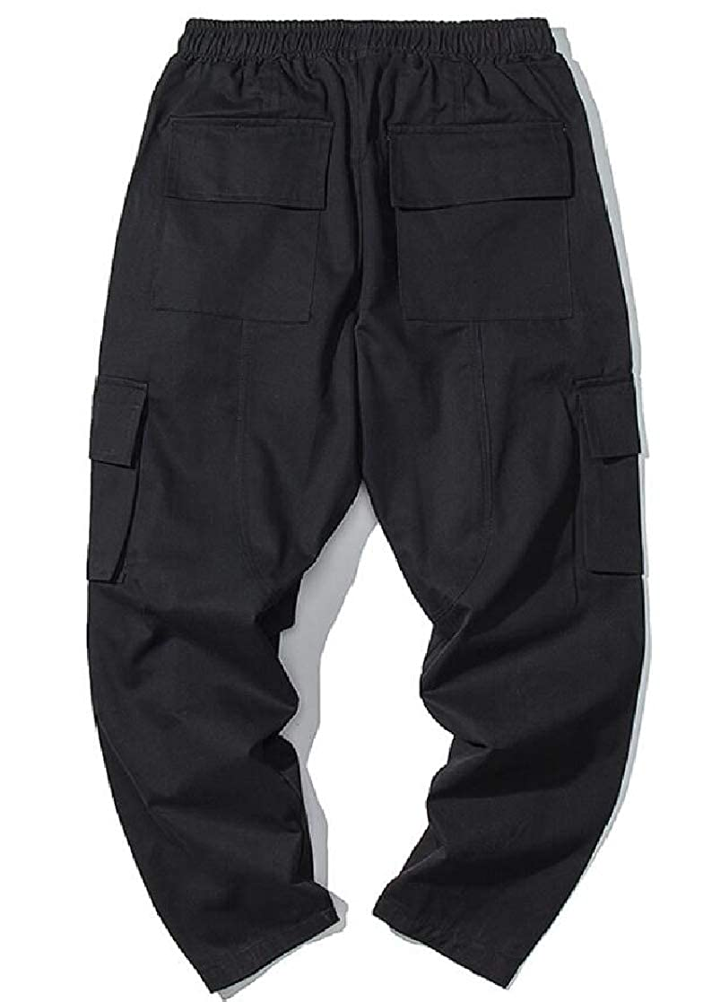 KLJR Men Elastic Waist Multi Pockets Straight Leg Casual Cargo Pant