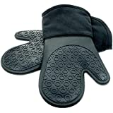 Silicone Oven Mitts with Quilted Cotton Lining - Professional Heat Resistant Potholder Kitchen Gloves - 1 Pair (Black) - Homwe®