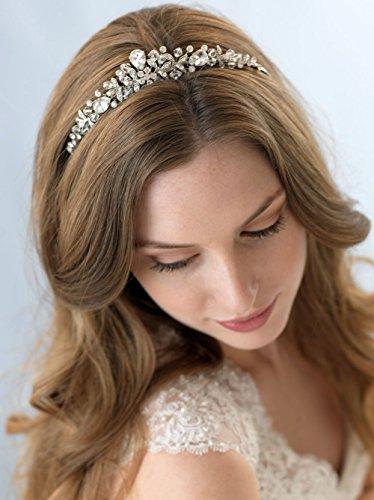 - USABride Silver-Tone Crystal & Rhinestone Tiara, Hand-wired Vintage Bridal Headpiece 3176