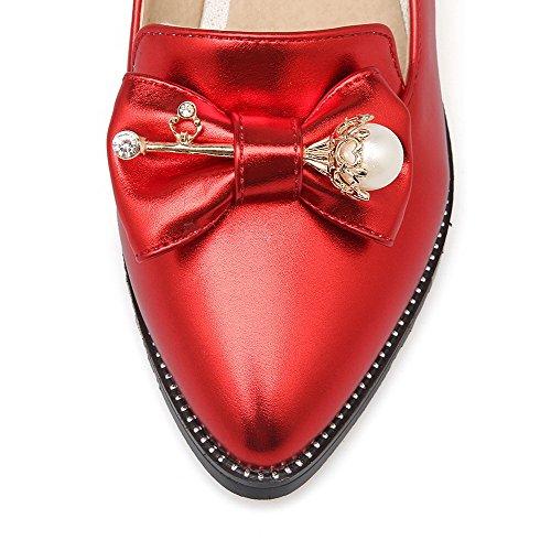 À Talon Tire Rouge Agoolar Cuir Femme Unie Correct Pointu Pu Légeres Couleur Chaussures 8w6aHx