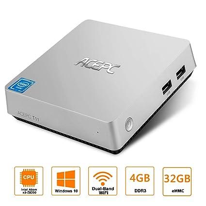 Mini PC,ACEPC T11 Fanless Mini Desktop Computer Windows 10 64-bit Intel Atom