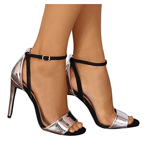 Closet Strappy Heels There Metallic Sandals Ladies High Black and Silver Shoe Barely 4wHTwqf1