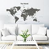 Decowall DLT-1609G Modern Grey World Map Kids Wall Decals...