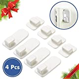 Christmas Gift Sticky Power Hook | 4pcs Multiuse TV Air Conditioner Remote Control Holder Keys Organizer Wall Mount Storage Sticky Hook Self Adhesive and Hanging Buckle with Premium Grade ABS Resin