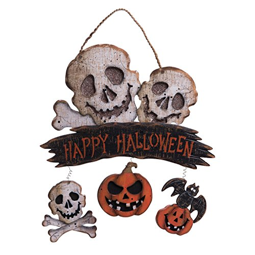 One Holiday Way Rustic Wooden Happy Halloween Greeting Sign with Pumpkins or Skulls - Hanging Halloween Decoration (Skulls)
