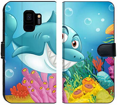 Liili Premium Samsung Galaxy S9 Flip Micro Fabric Wallet Case Illustration of a Big Fish Near The Coral reefs Photo 19390170