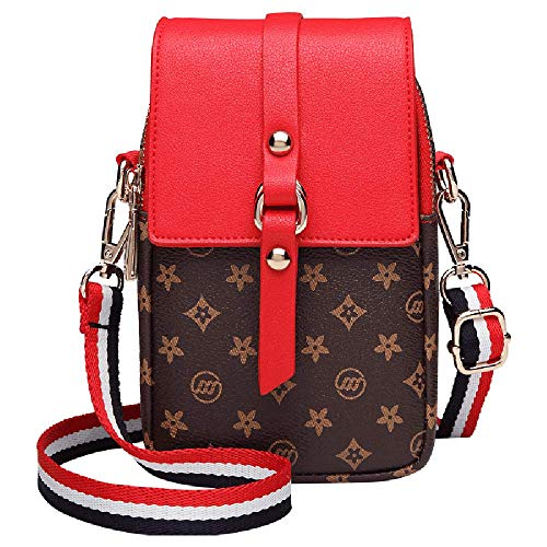 Women Small Crossbody Bag Leather Cell phone Purse Holder Wallet Shoulder Bag Adjustable Strap (CoffeSmallFlower2) ()