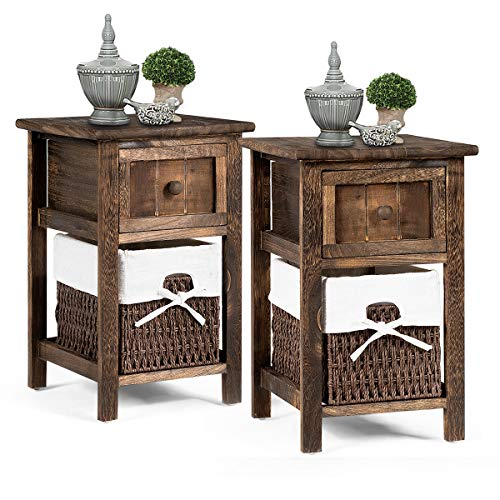 Giantex Nightstand Mini Wooden W/Drawer and Removable Wicker Storage Basket Multipurpose Storage Cabinet for Living Room Bedroom Children Room Fully Assembled Beside Sofa Table End Table (2, Coffee) (Wicker Bedroom Stands Night)